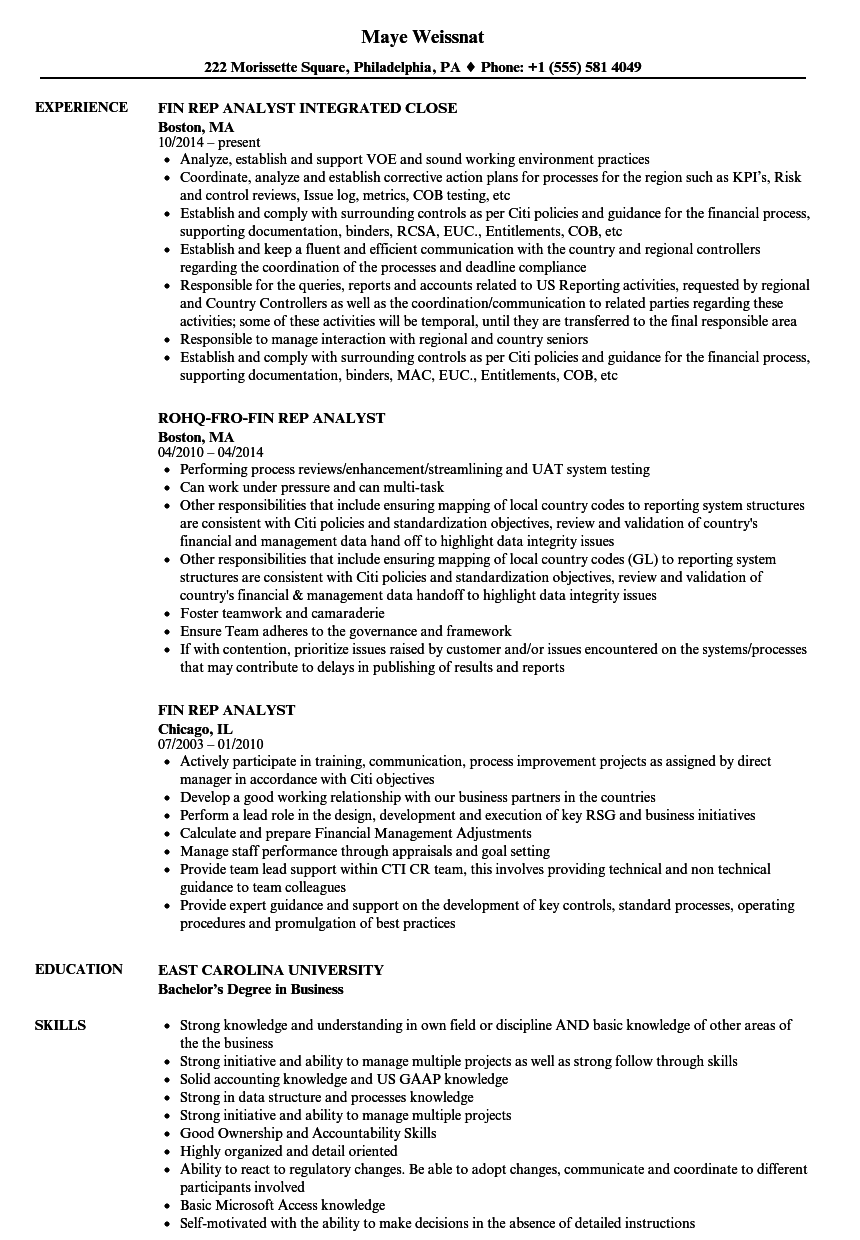 fin rep analyst resume samples