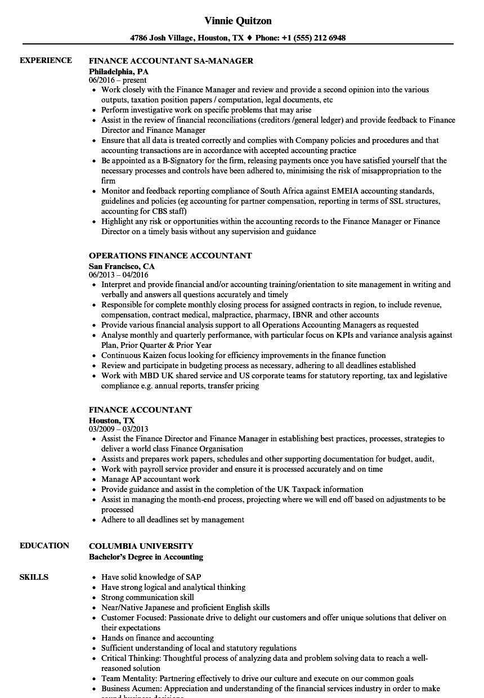Finance Accountant Resume Samples | Velvet Jobs