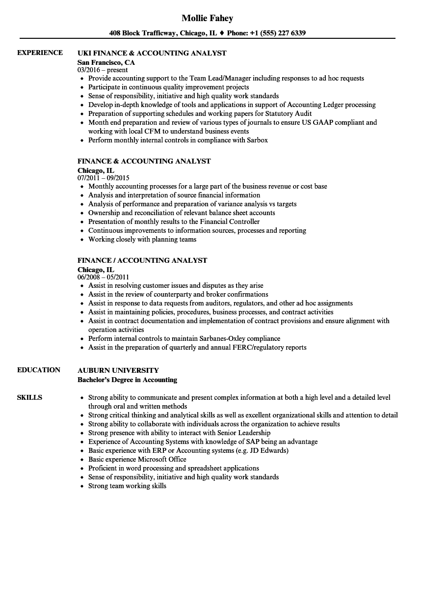 Download Finance Accounting Analyst Resume Sample As Image File