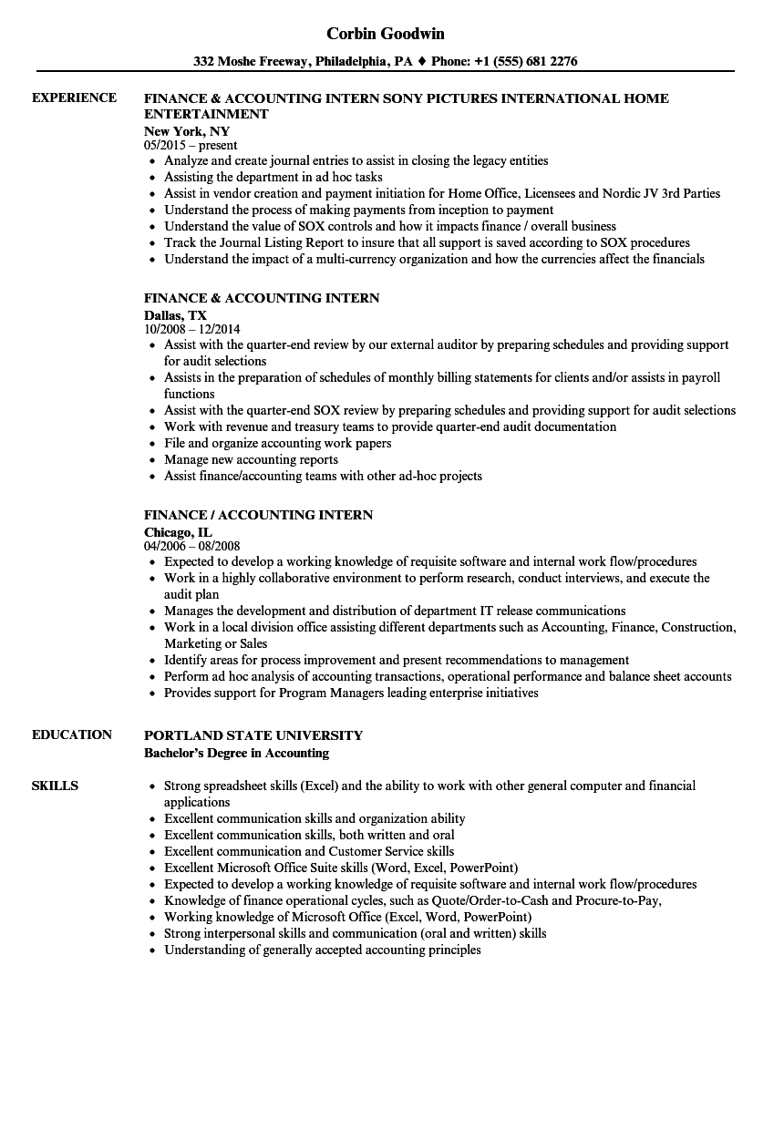 Finance / Accounting Intern Resume Samples | Velvet Jobs