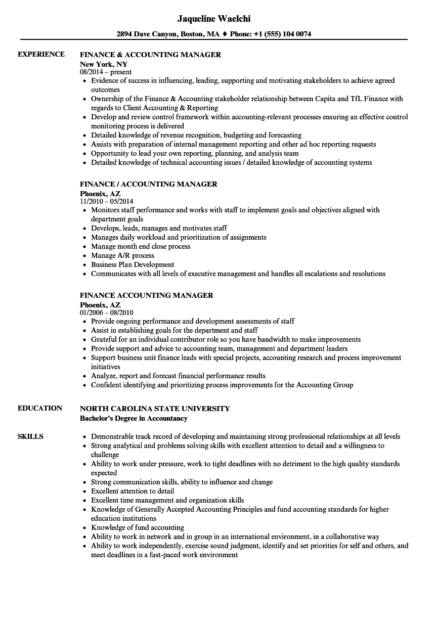 Finance Accounting Manager Resume Samples