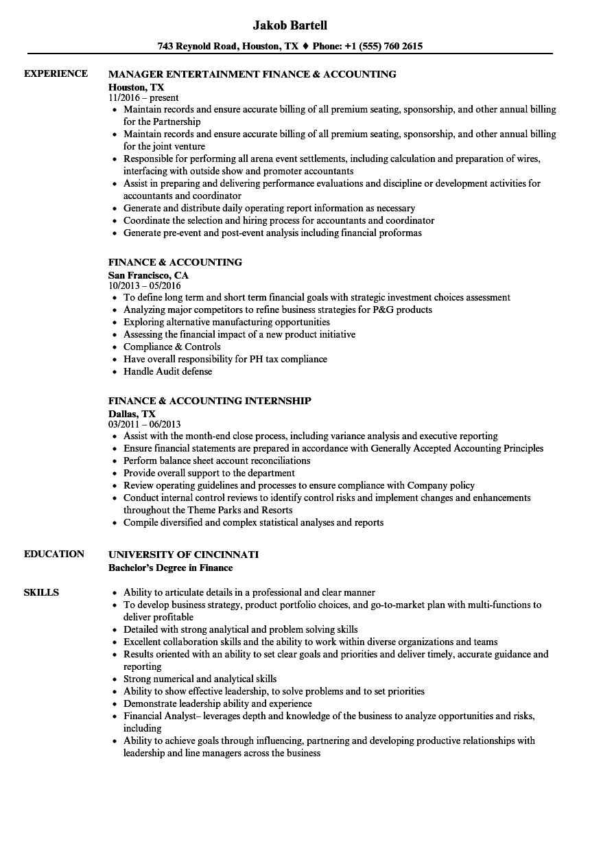 Download Finance U0026 Accounting Resume Sample As Image File