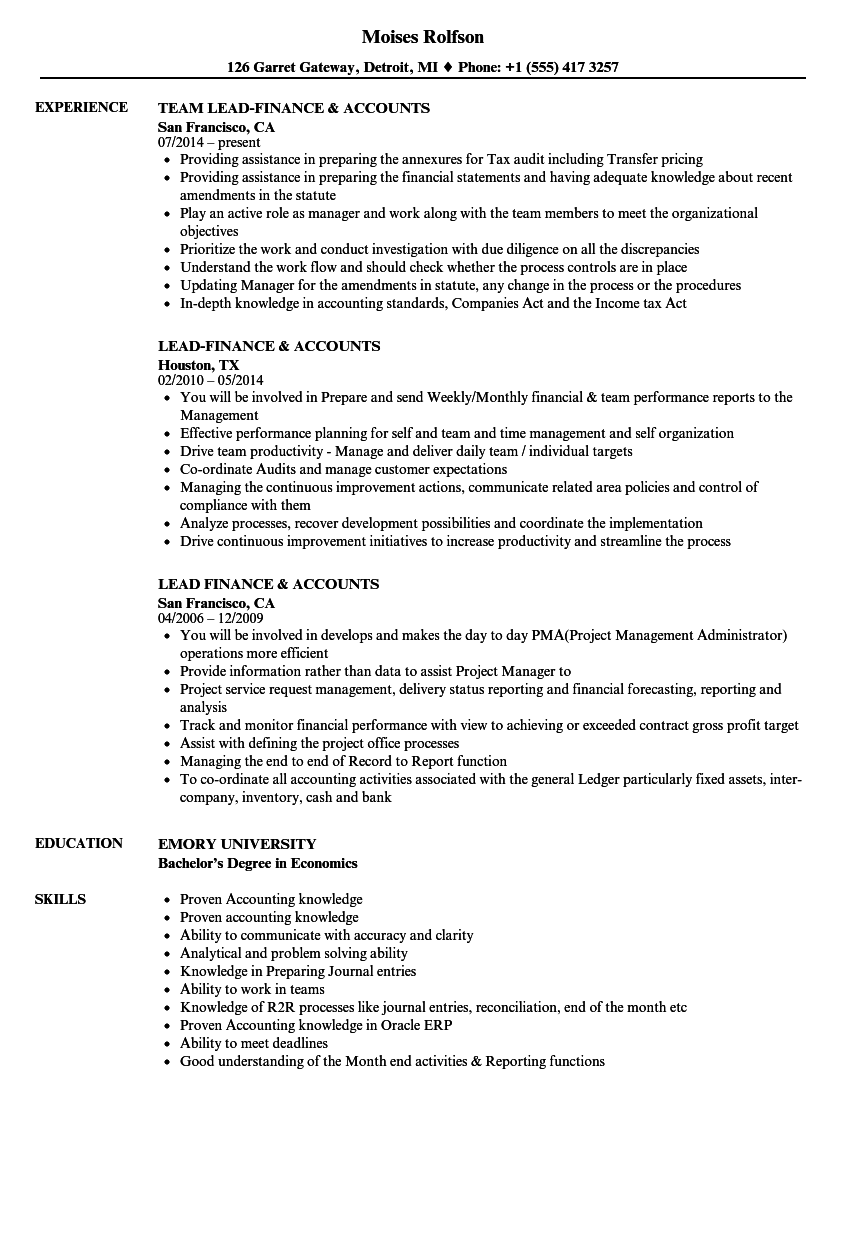 Finance & Accounts Resume Samples | Velvet Jobs