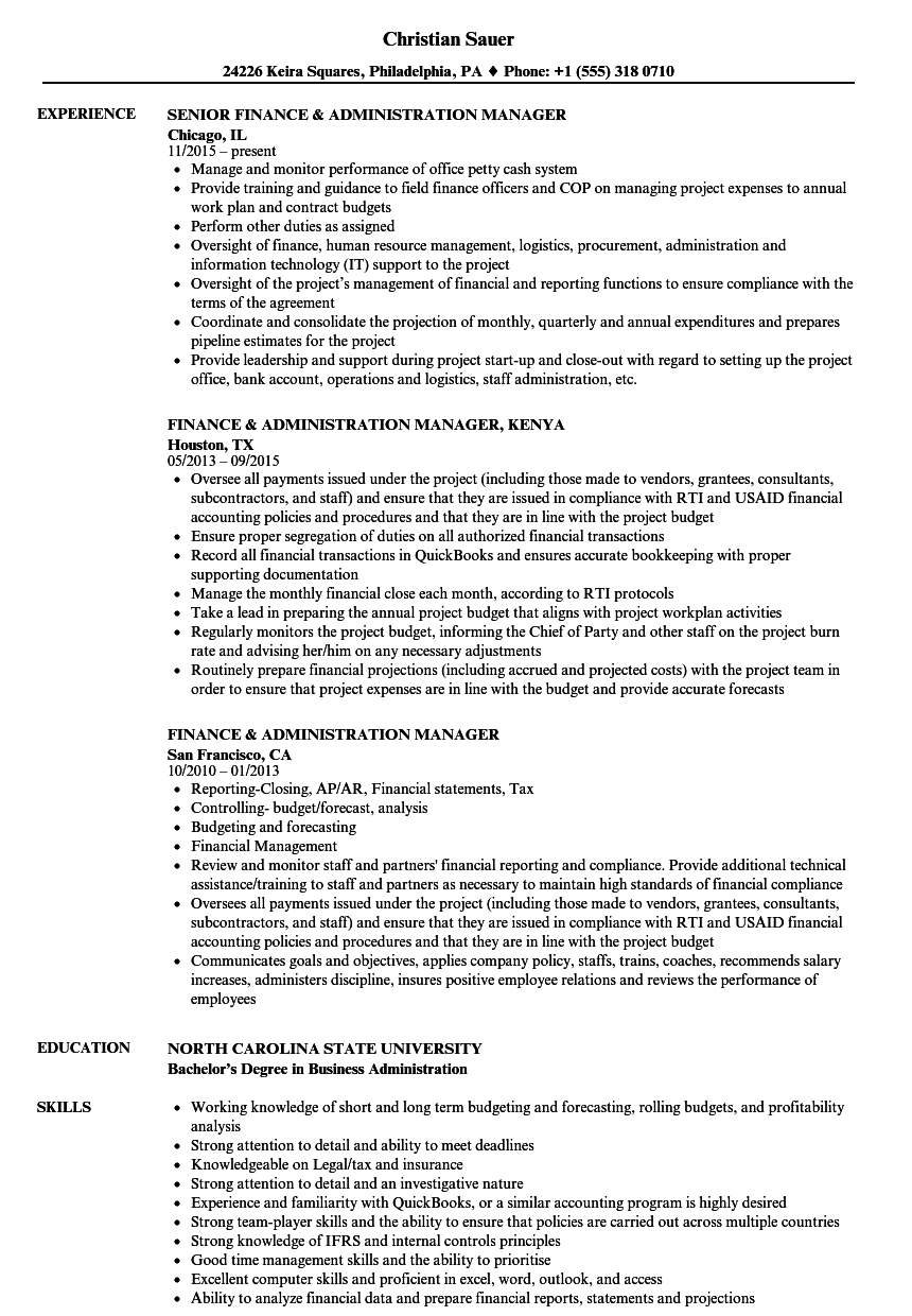 resume Administrative Manager Resume finance administration manager resume samples velvet jobs download sample as image file