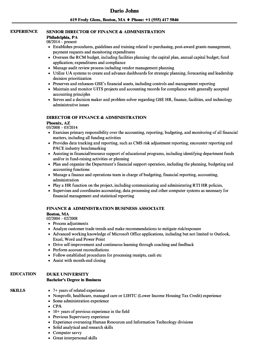 finance  u0026 administration resume samples