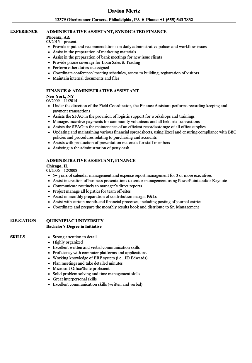 Finance Administrative Assistant Resume Samples | Velvet Jobs