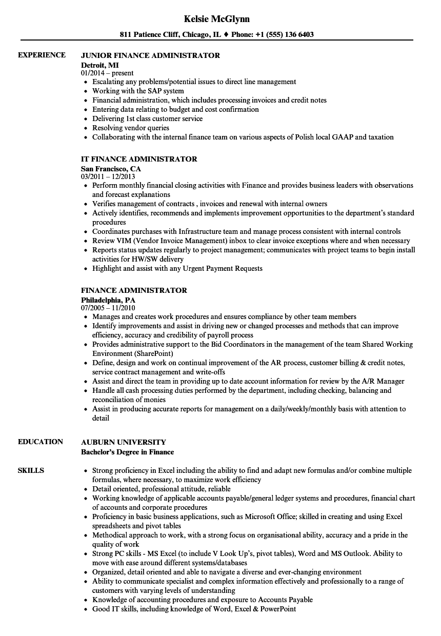 download finance administrator resume sample as image file - Sample Administrative Resume