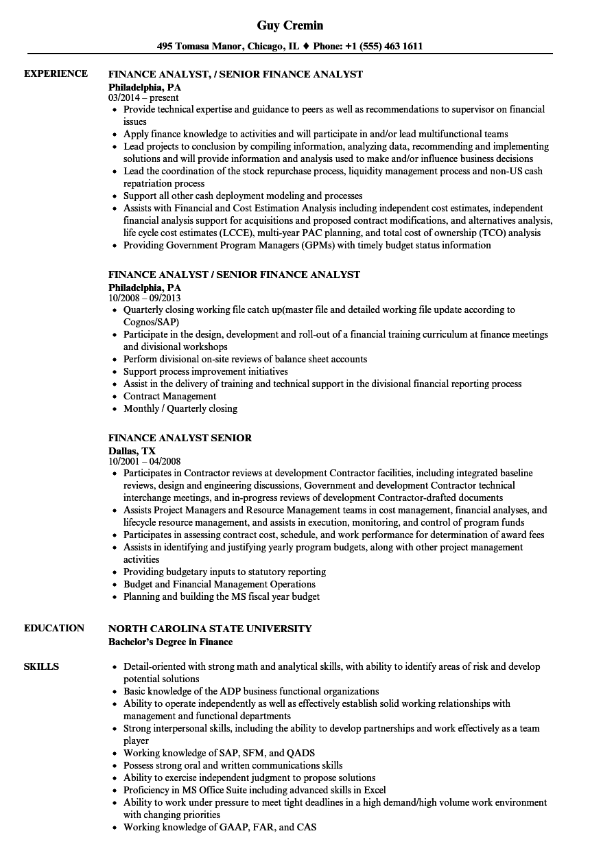 Finance Analyst Senior Resume Samples