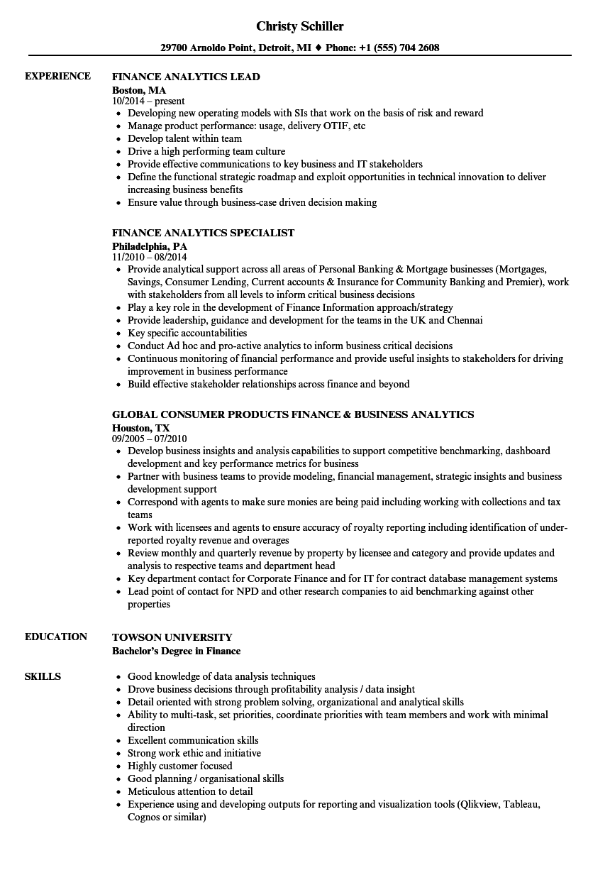 Finance Analytics Resume Samples | Velvet Jobs