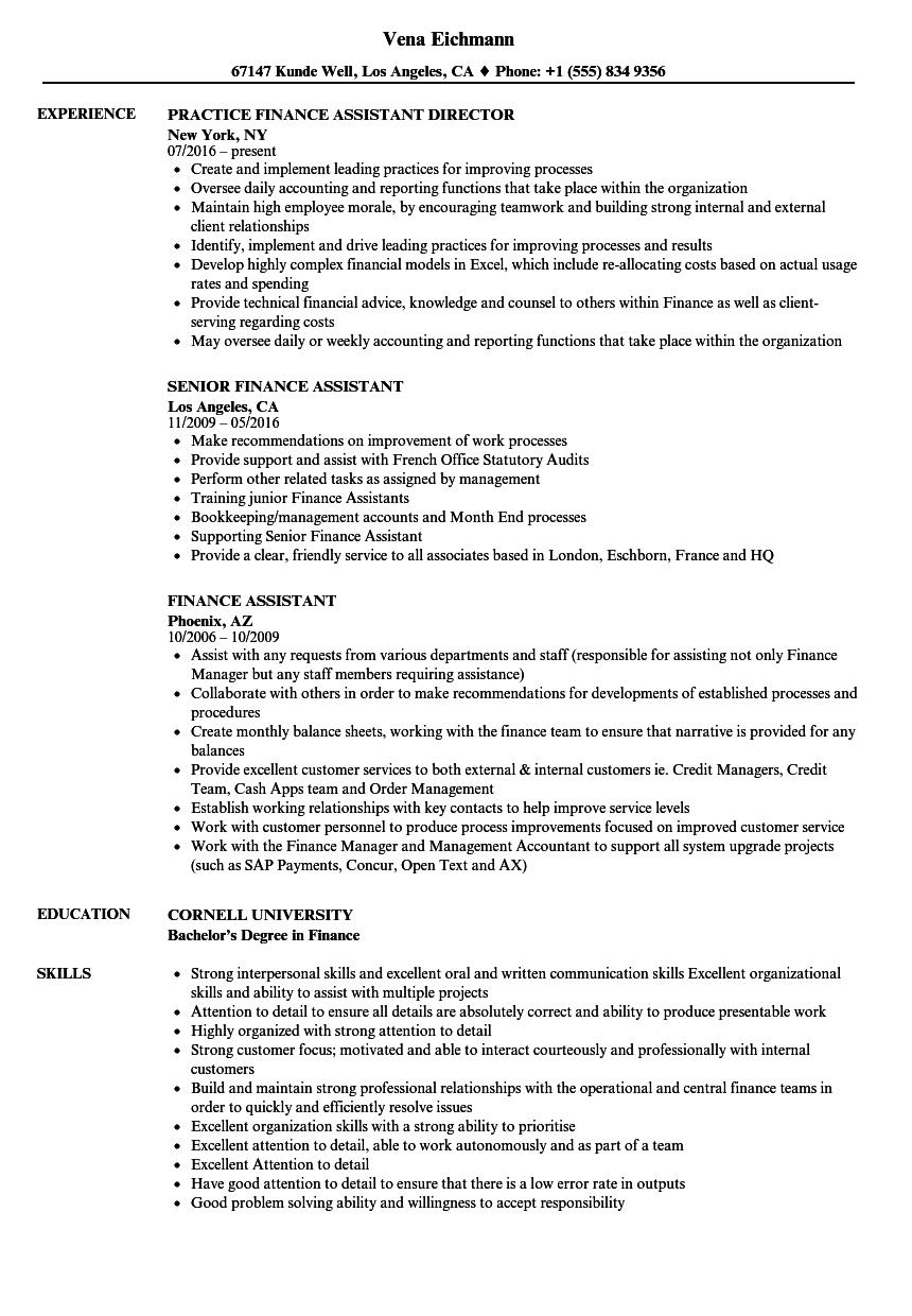 related job titles assistant finance manager resume sample