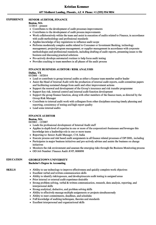 finance auditor resume samples