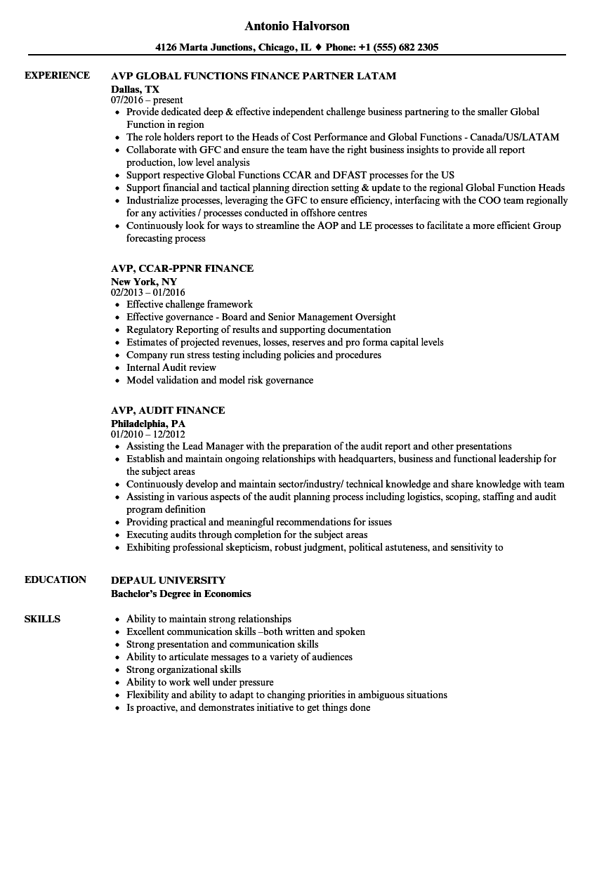 Finance Avp Resume Samples Velvet Jobs