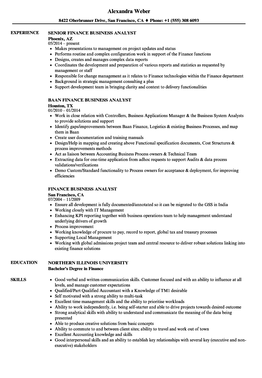 finance business analyst resume samples