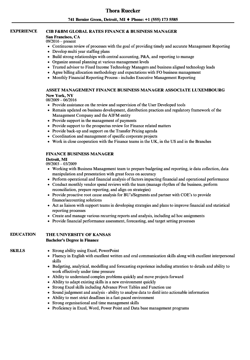 Finance Business Manager Resume Samples | Velvet Jobs