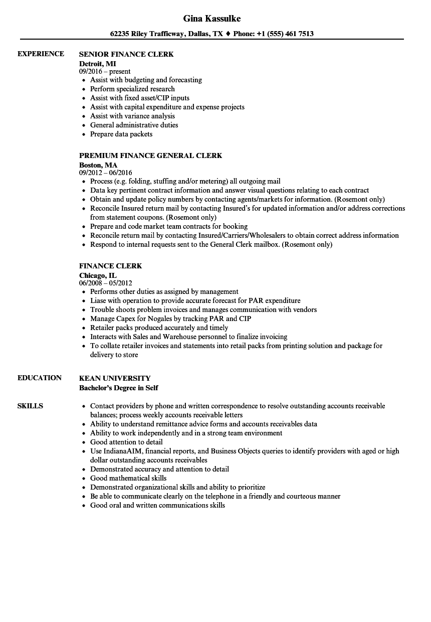 finance clerk resume samples velvet jobs