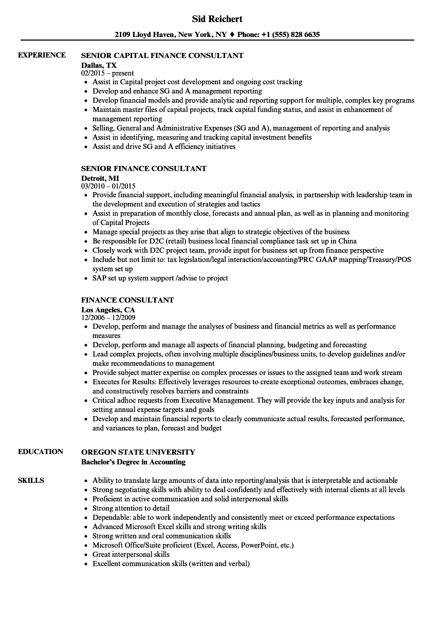 finance consultant resume samples