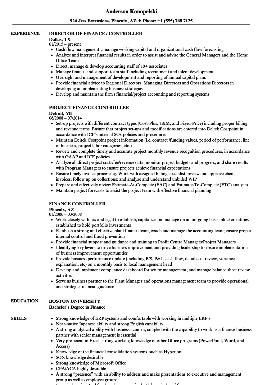 Finance Controller Resume Samples | Velvet Jobs