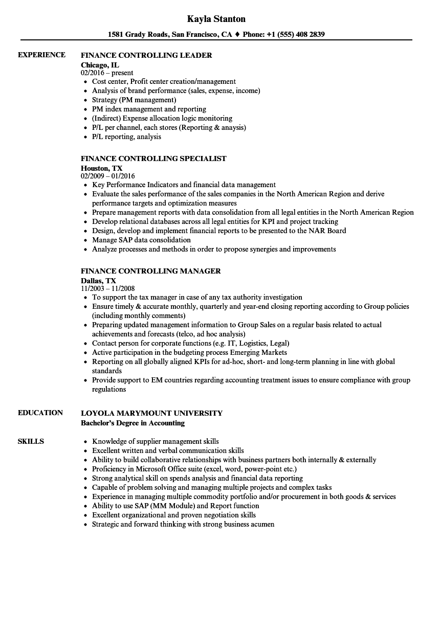 Finance & Controlling Resume Samples | Velvet Jobs