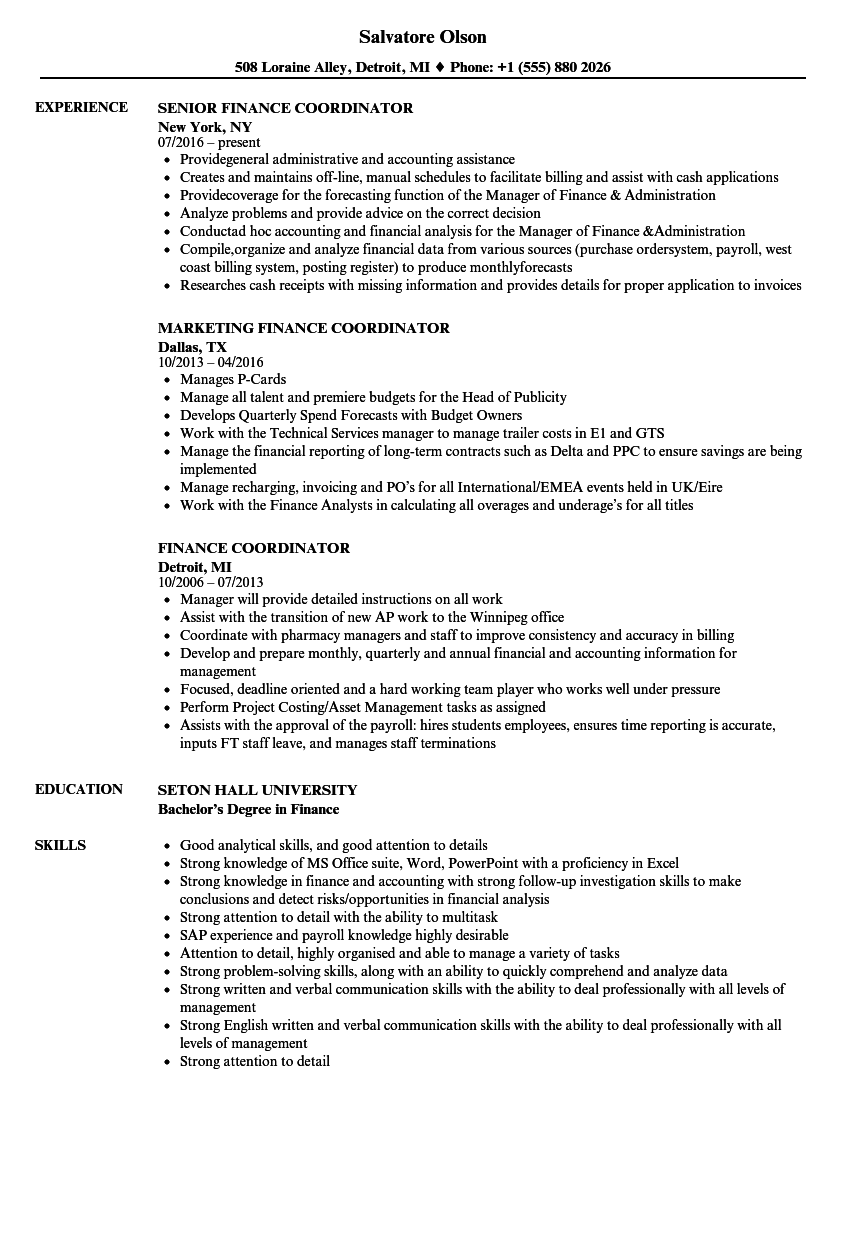finance coordinator resume samples