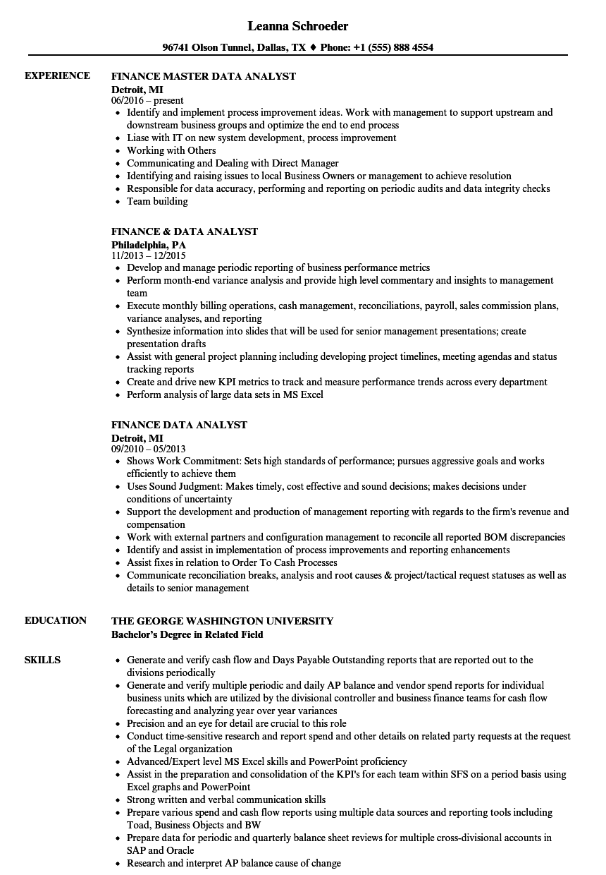 Finance Data Analyst Resume Samples Velvet Jobs