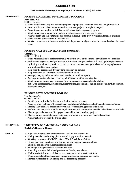 finance development program resume samples