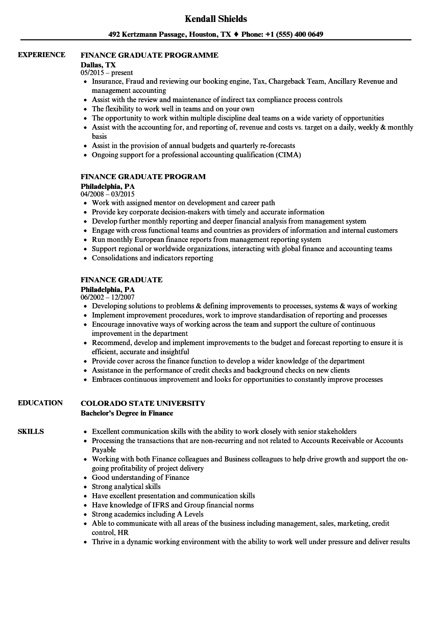 Finance Graduate Resume Samples | Velvet Jobs