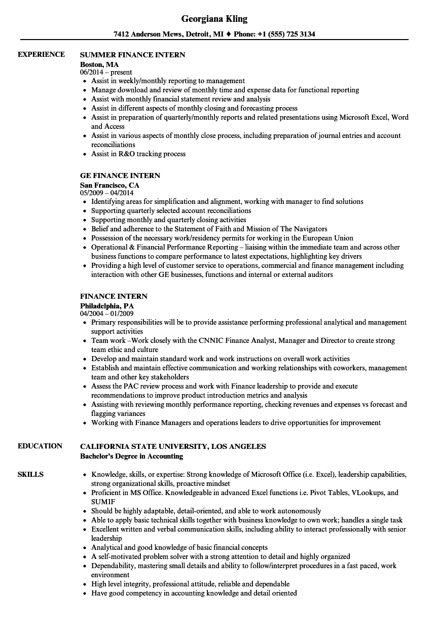 Finance Intern Resume Samples Velvet Jobs