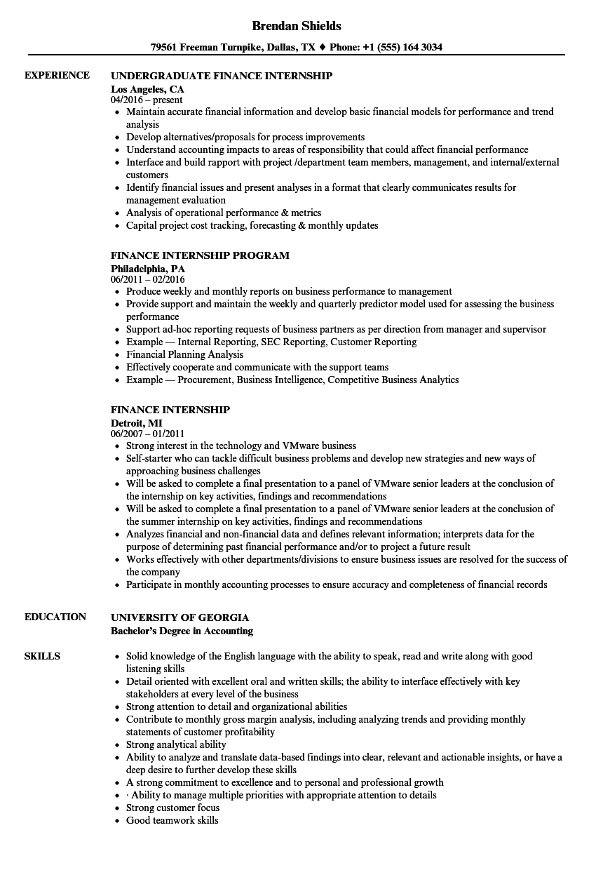finance internship resume samples velvet jobs
