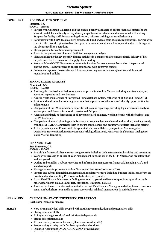 Finance Lead Resume Samples Velvet Jobs