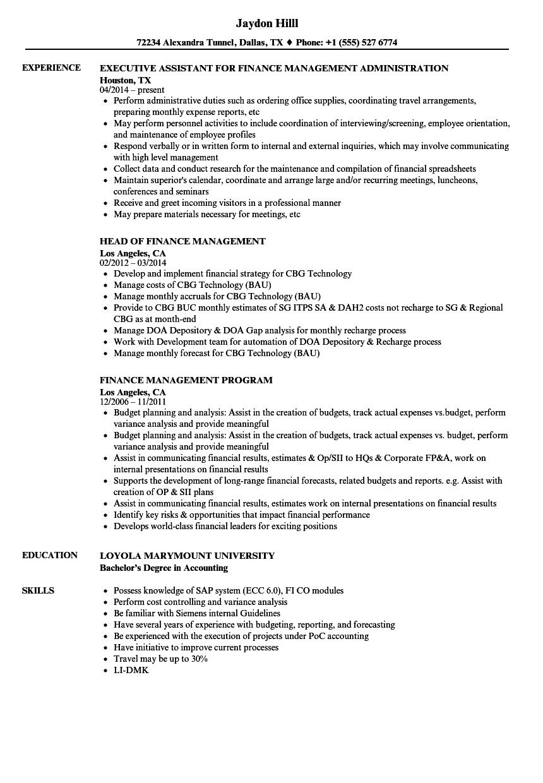 finance management resume samples velvet jobs