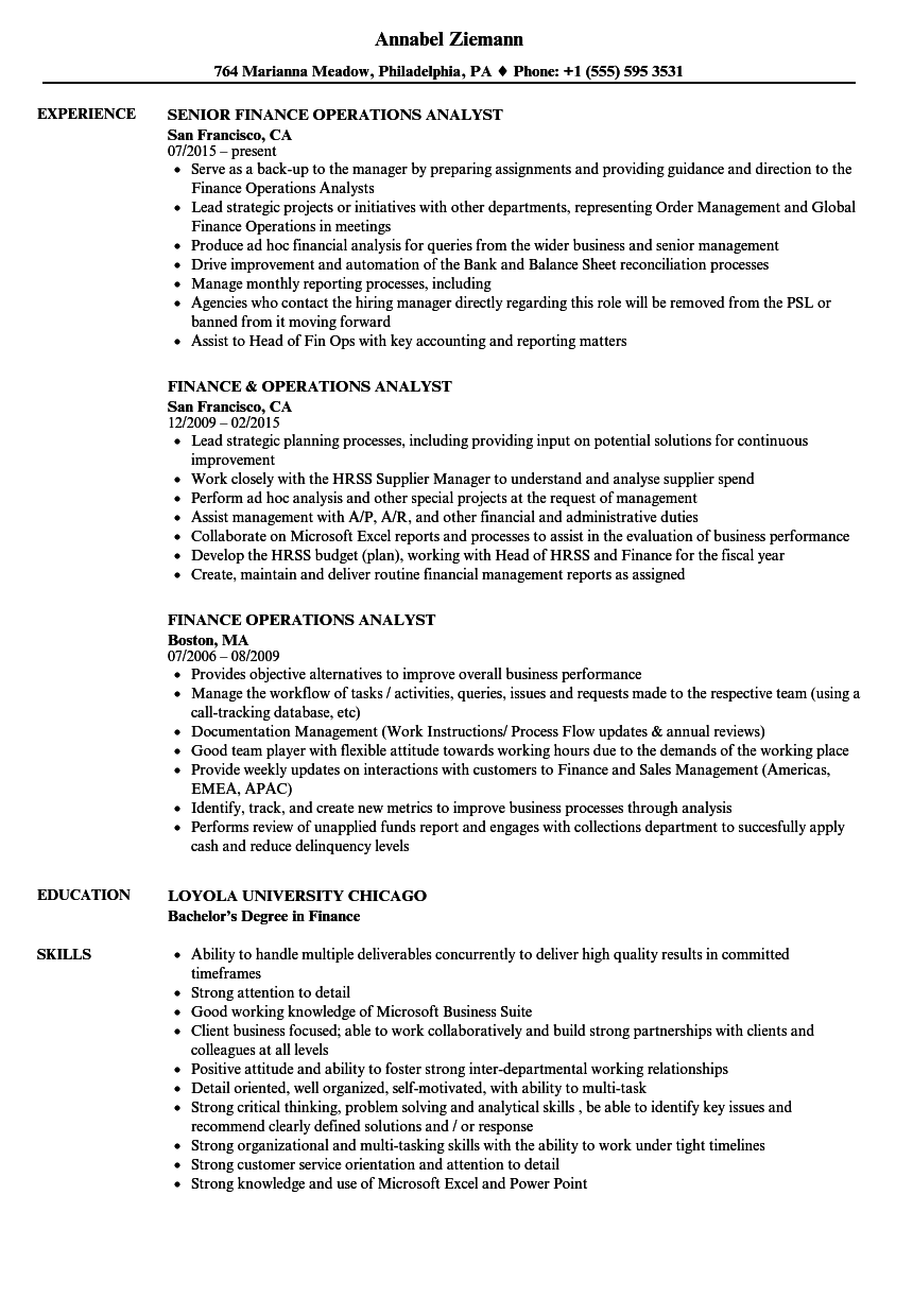 Finance Operations Analyst Resume
