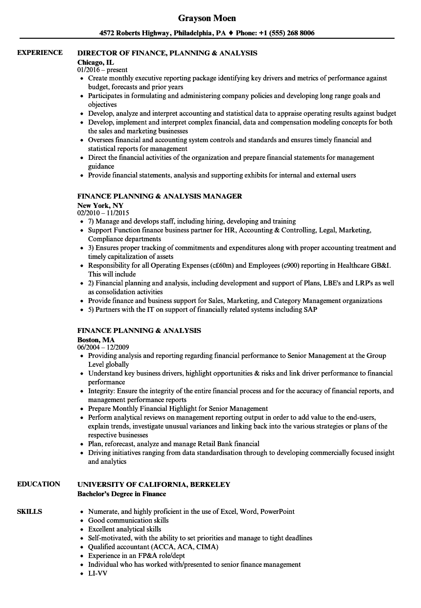 Finance Planning Analysis Resume Samples | Velvet Jobs