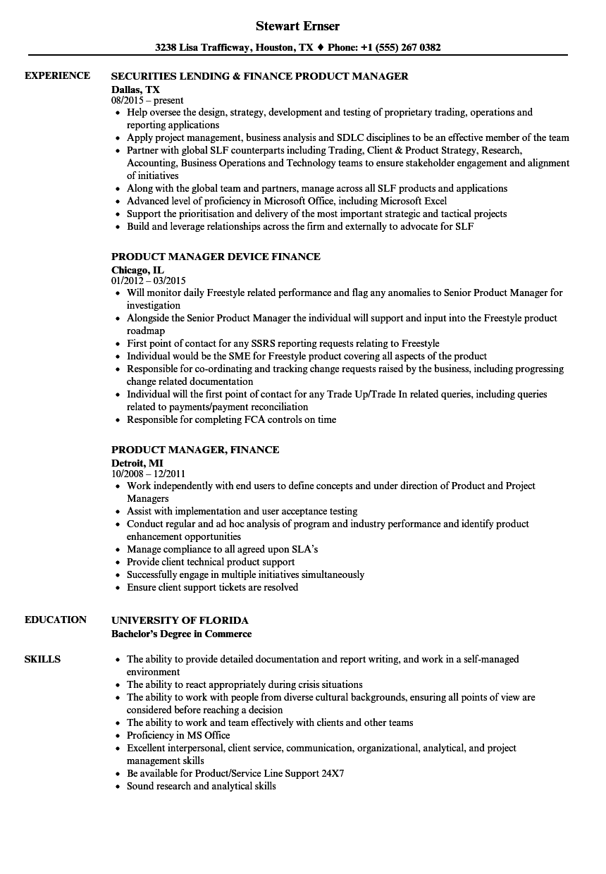 Finance Product Manager Resume Samples | Velvet Jobs