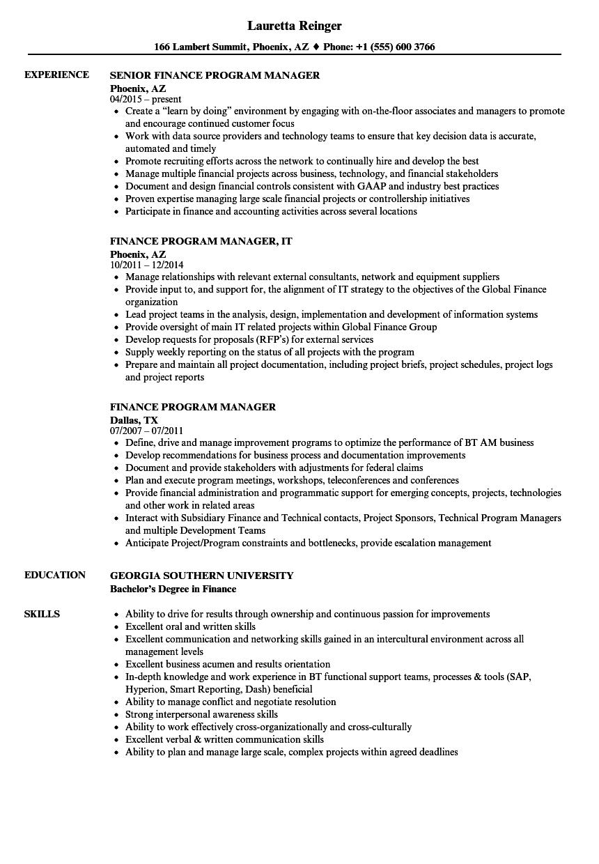 Finance Program Manager Resume Samples | Velvet Jobs