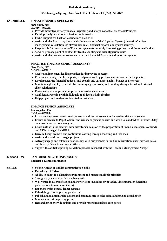 finance  senior resume samples
