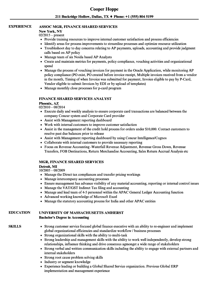 Download Finance Shared Services Resume Sample As Image File