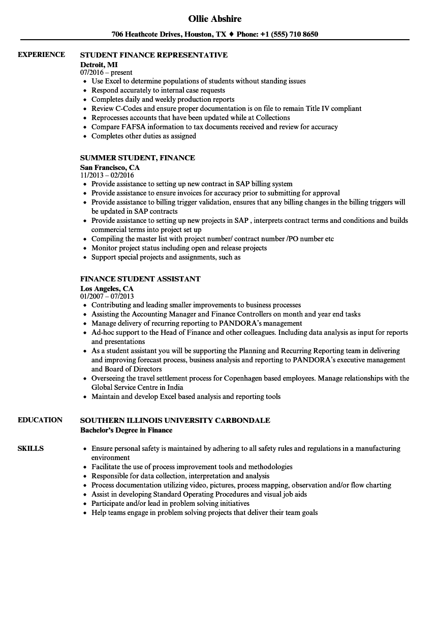 download finance student resume sample as image file