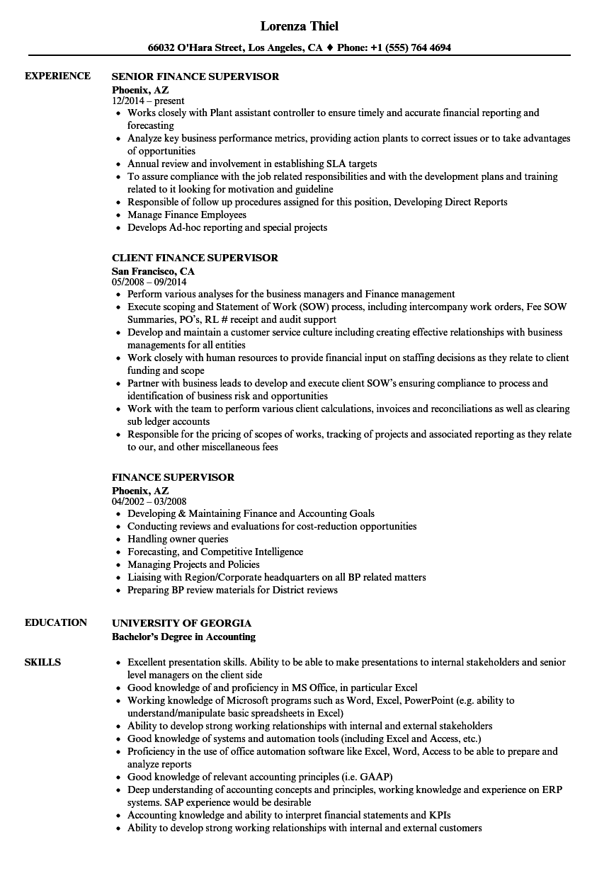 Finance Supervisor Resume Samples | Velvet Jobs
