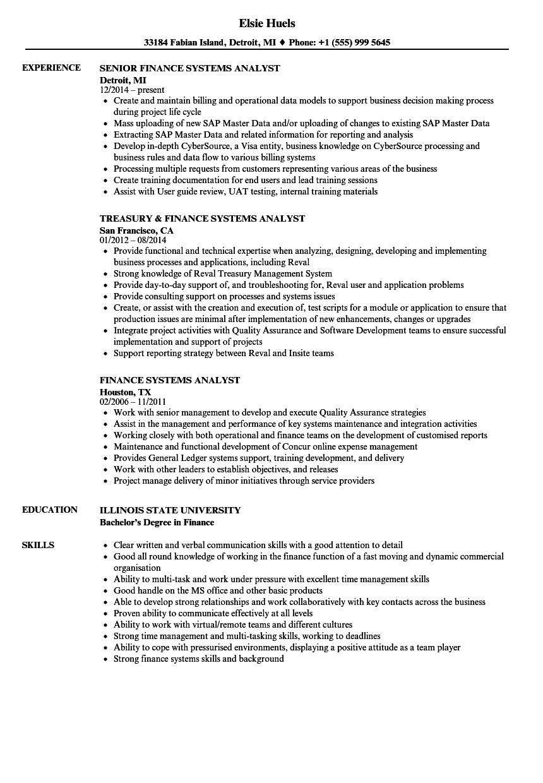 Finance Systems Analyst Resume Samples Velvet Jobs