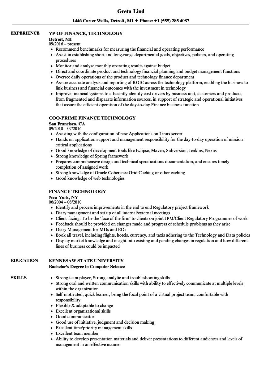 finance technology resume samples