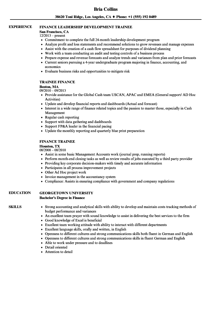 Finance Trainee Resume Samples | Velvet Jobs