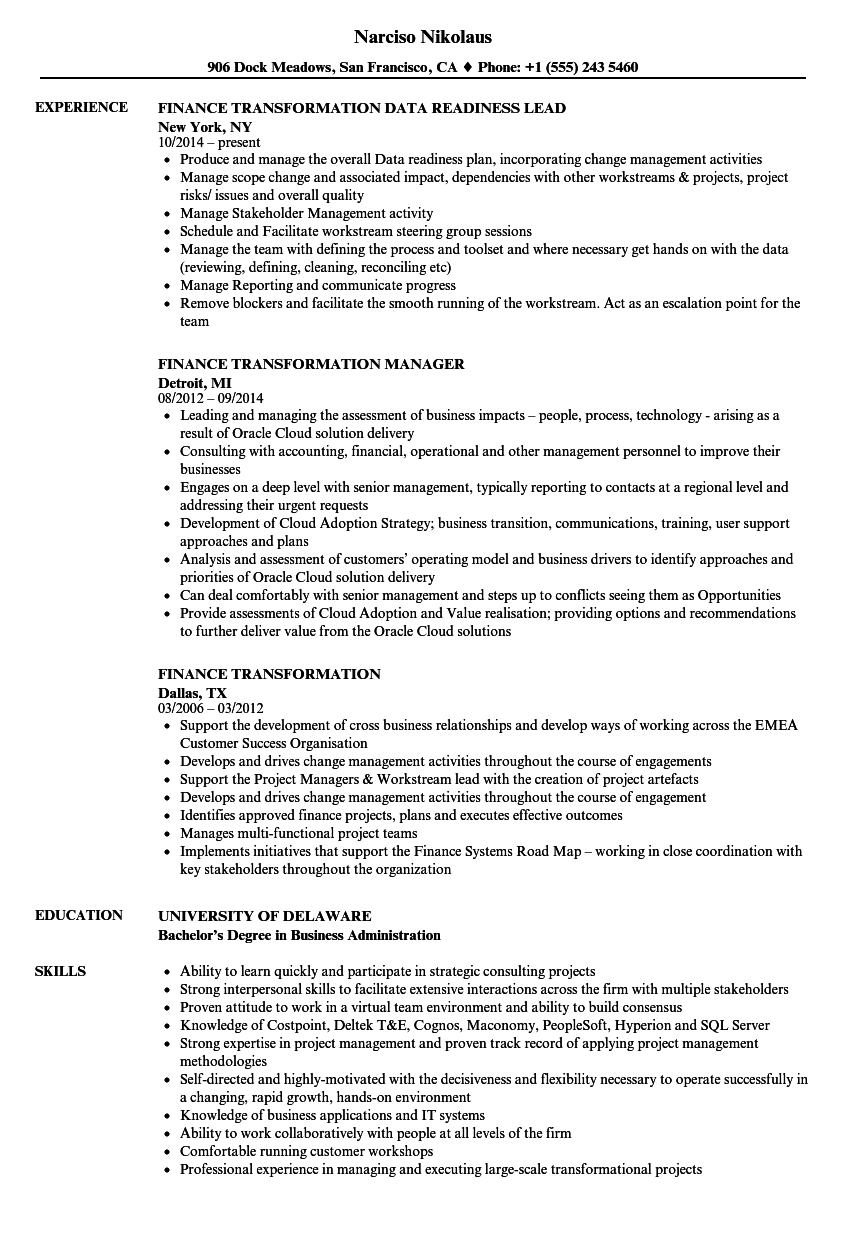 finance transformation resume samples