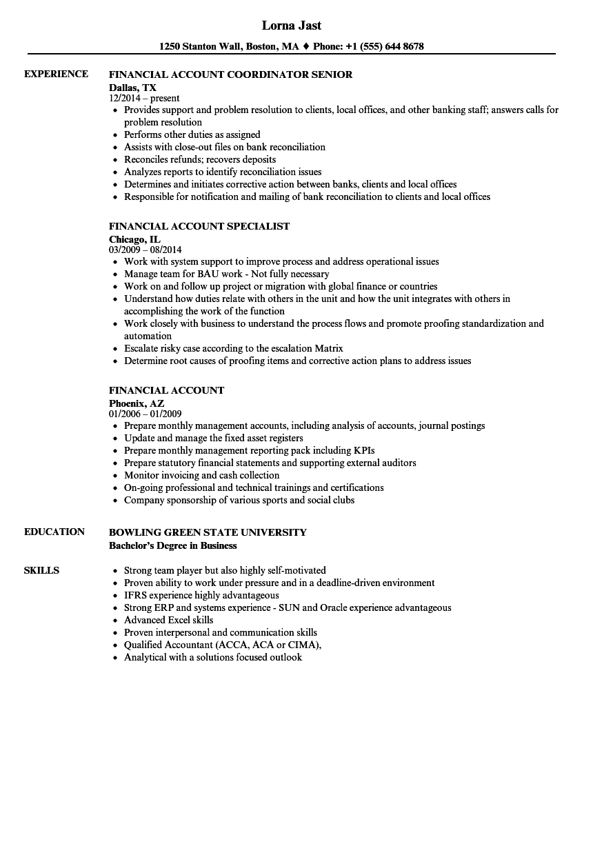 Financial Account Resume Samples Velvet Jobs