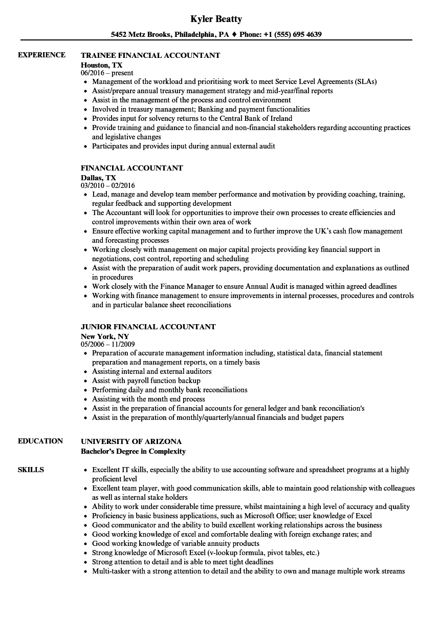 Financial Accountant Resume Samples Velvet Jobs
