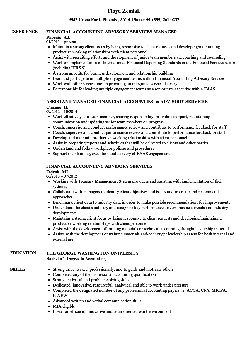 Download Financial Accounting Advisory Services Resume Sample As Image File  Resume Accounting