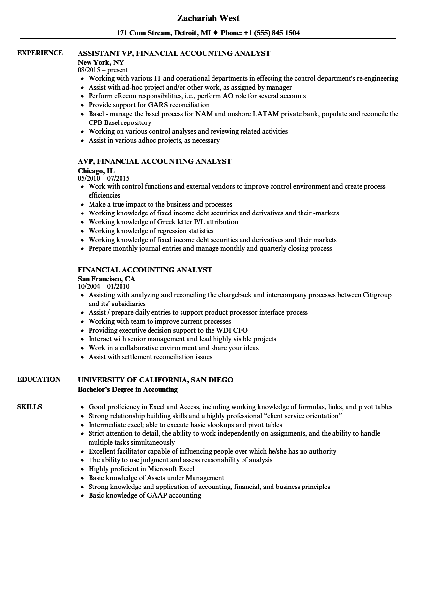 Financial Accounting Analyst Resume Samples | Velvet Jobs