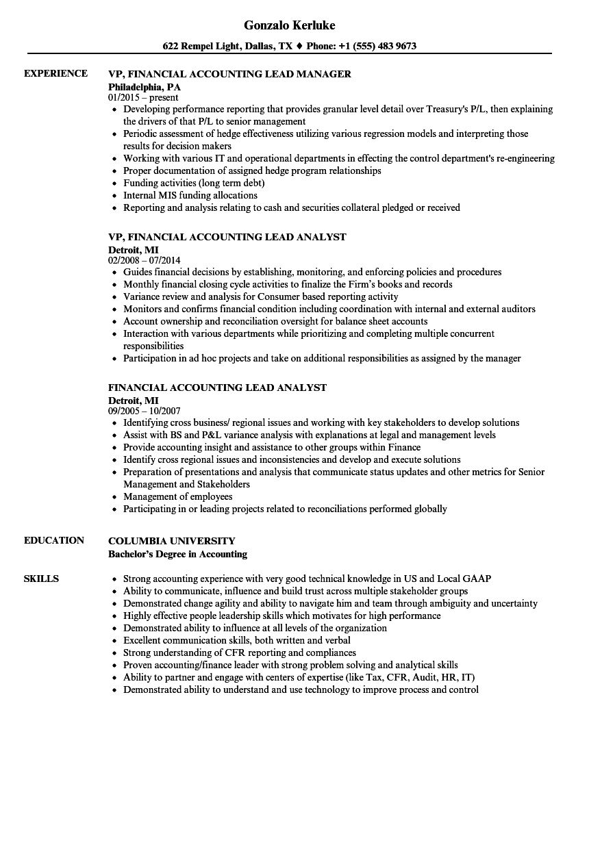 Financial Accountant Sample Resume business monthly report
