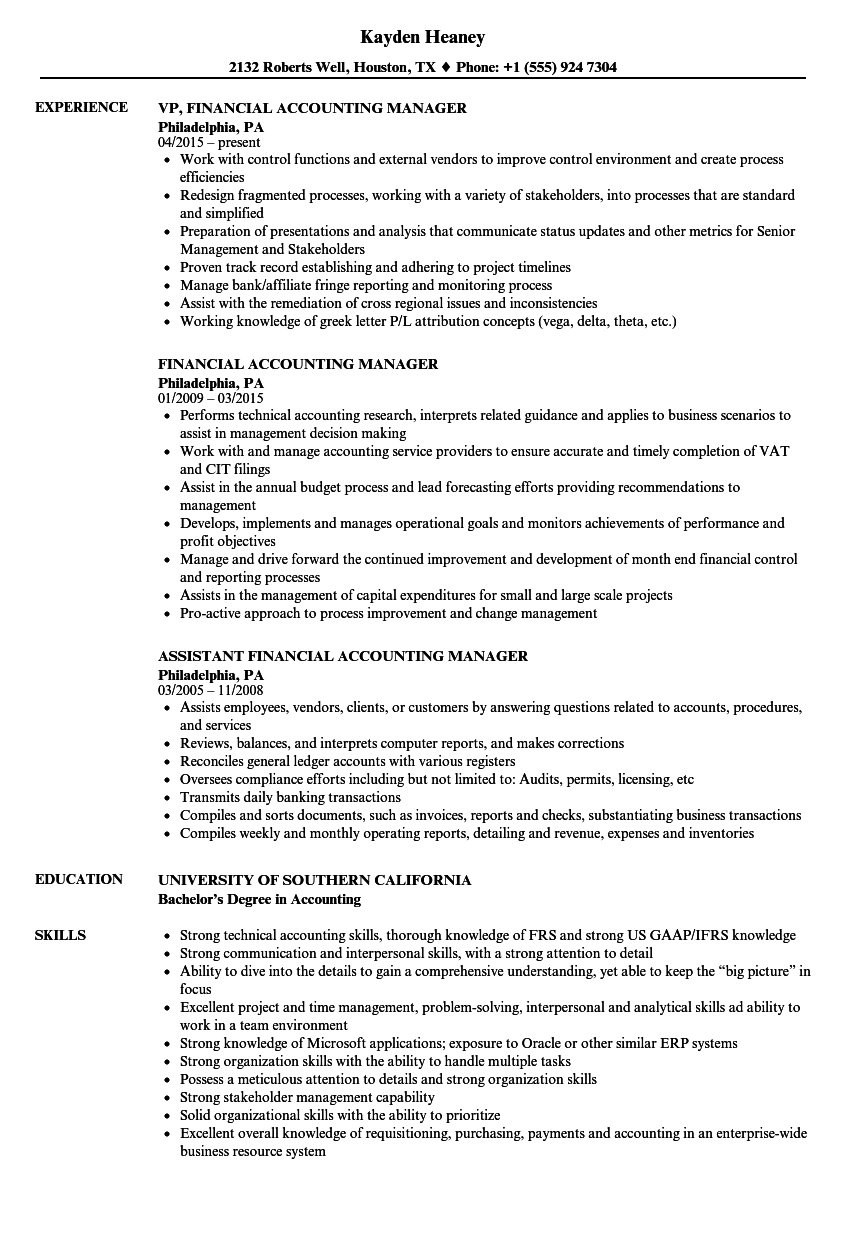 Financial Accounting Manager Resume Samples | Velvet Jobs