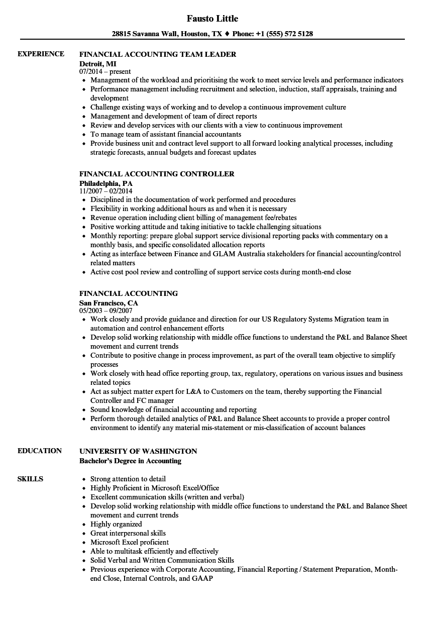 financial accounting resume samples velvet jobs