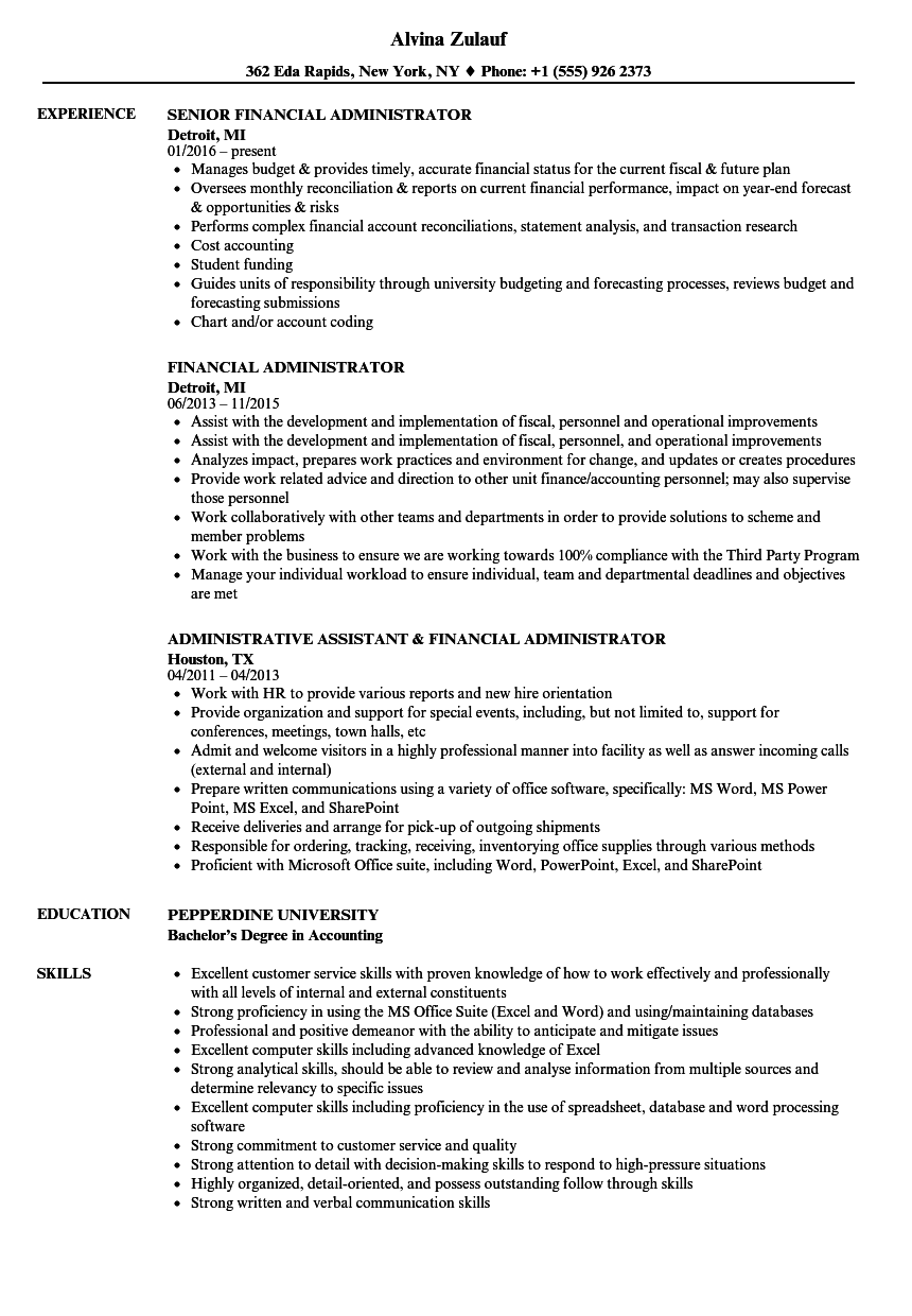 Financial Administrator Resume Samples | Velvet Jobs